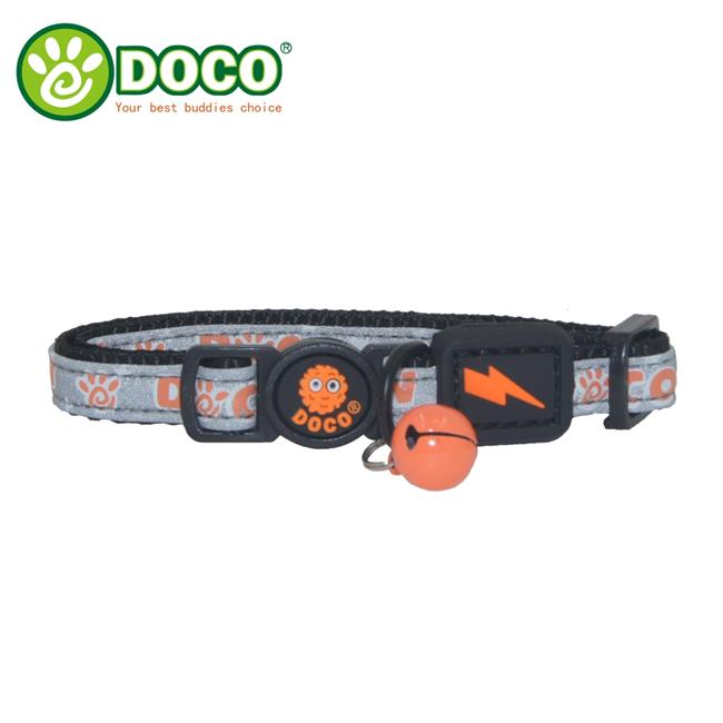 Doco DCAT011-07 Reflective Cat Collar with Safety Buckle, Light Green