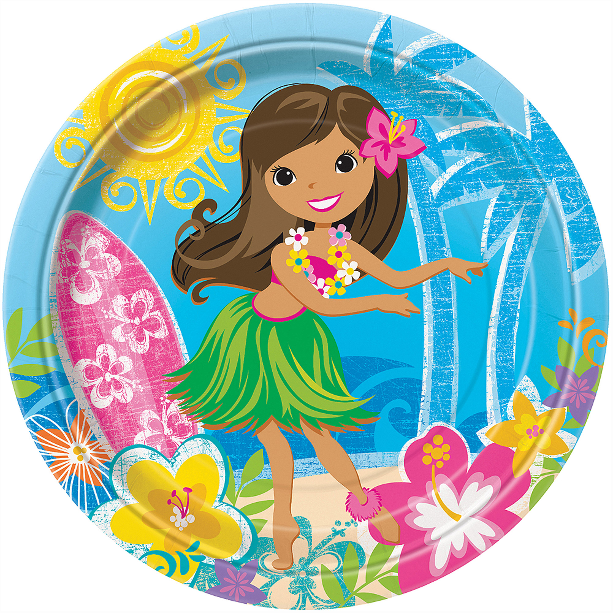 "9"" Hula Girl Luau Party Dinner Plates, 8-Count"