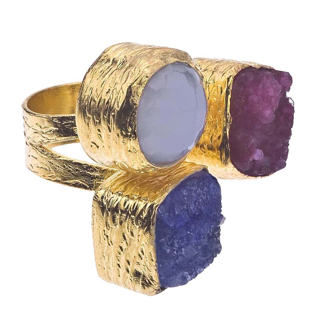 18K Gold Plate, Druzy & Chalcedony Floating Ring by Ax Jewelry