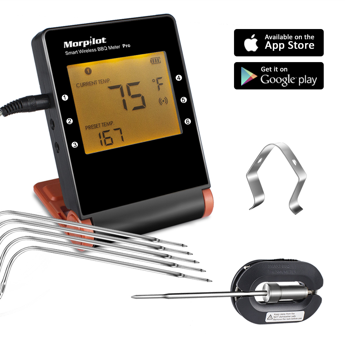Wireless Meat Thermometers for Grill Smoker, Morpilot Bluetooth BBQ Grill Thermometer Smart Remote Digital Cooking Food with 6 Probes for Outdoor Grilling Smoker Oven Griddle Indoor Kitchen