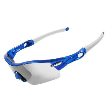 SUNGLASSES - BLUE POLARIZED SPORT SUNGLASSES SPORTS STYLE CYCLING BIKE RIDING FISHING GOLFING DRIVING BASEBALL REFLECTIVE SHADES (Rider Baseball)