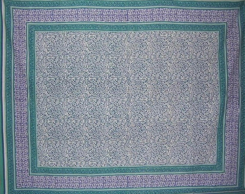 Persian Filigree Block Print Tapestry Cotton Spread 106 x 70 Twin Coral