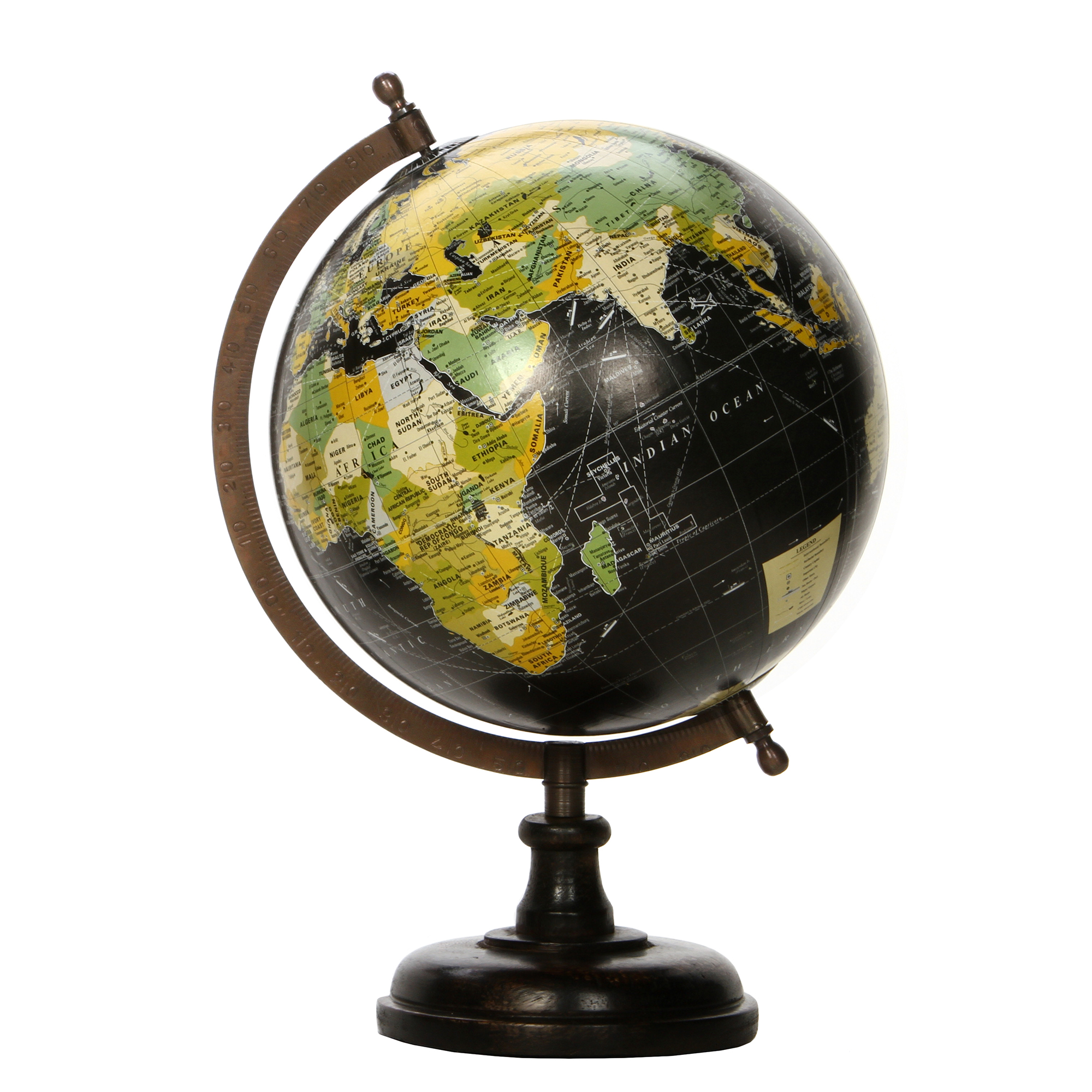 Decorative Tabletop Globe Large, Black
