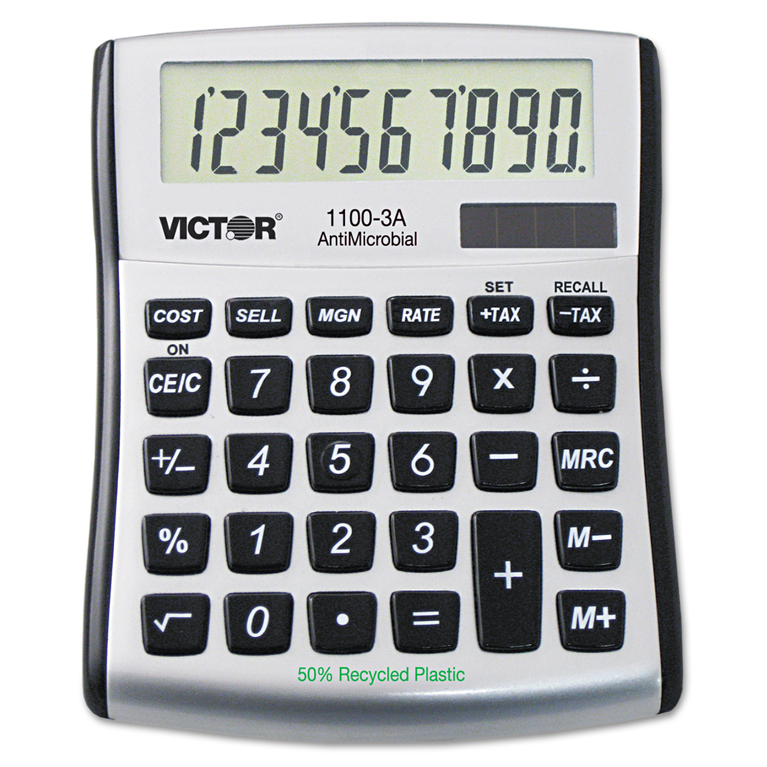 Victor 1100-3A Antimicrobial Compact Desktop Calculator, 10-Digit LCD -VCT11003A