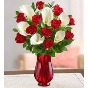 1800Flowers Red Rose and Calla Lily Bouquet with Red Vase (12 Roses, 6 Lilies)