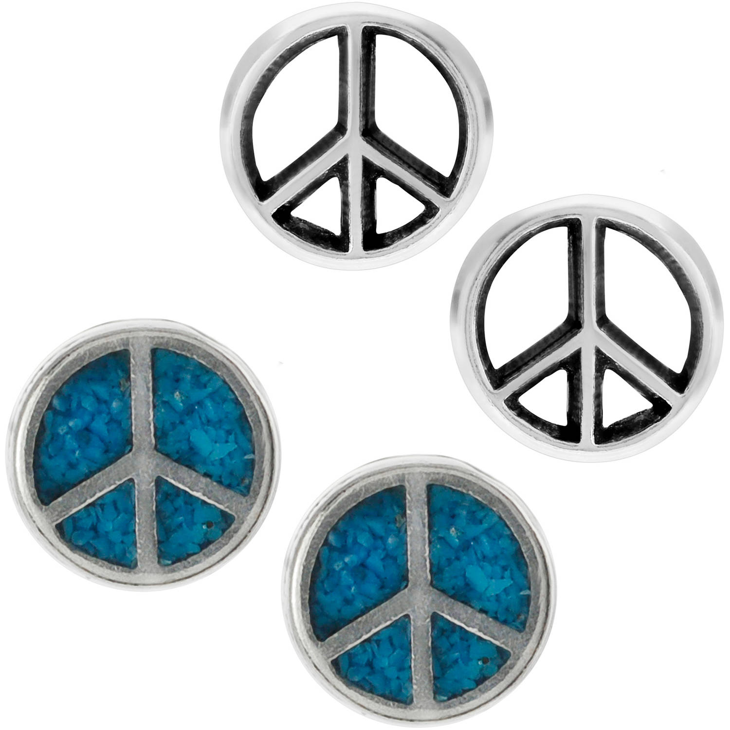 Brinley Co. Women's Turquoise Sterling Silver Peace Sign Stud Earrings Set, 2 Pairs