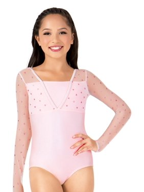Girls Heart Mesh Long Sleeve Leotard
