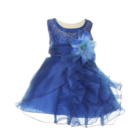 Baby Girls Royal Blue Organza Cascade Ruffle Dress 6-24M - Blue Girls Dress
