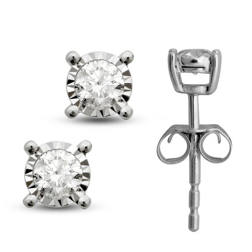 Tru Miracle 1/4 Carat T.W. Diamond Sterling Silver Stud Earrings