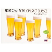 Creative Ware 22 oz. Eight Acrylic Pilsner Glasses by Creative Bath Products, Inc.