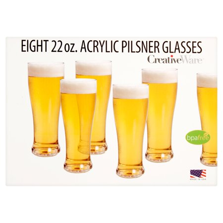 Creative Ware 22 Oz  Eight Acrylic Pilsner Glasses