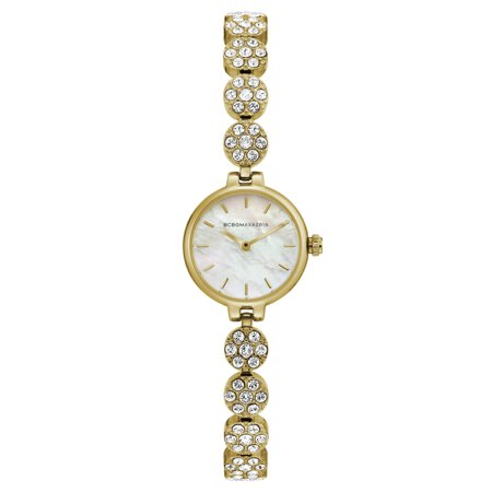 Mother Of Pearl Silver Wrist Watch - BCBG Maxazria Women's Gold Case Mother Of Pearl Dial Gold Bracelet Watch