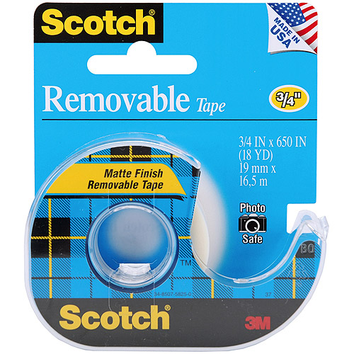 "Scotch Removable Tape, Matte, .75"" x 650"""