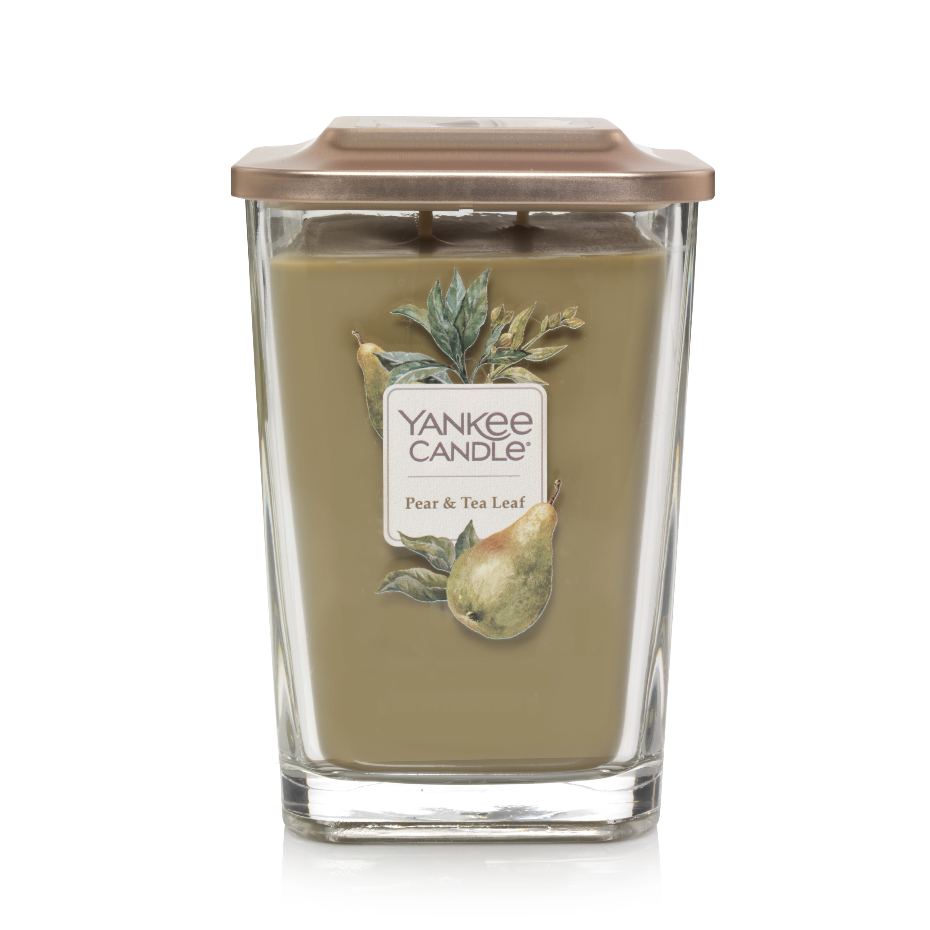 Yankee Candle Elevation Collection with Platform Lid Large 2-Wick Square Candle, Pear & Tea Leaf