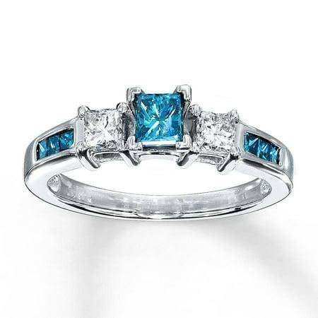 1 Carat Princess Cut Blue Sapphire and Diamond Engagement Ring