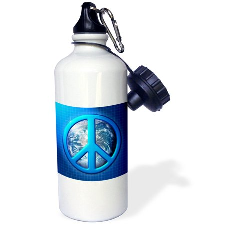 3dRose Peace On Earth large blue peace sign over the planet earth, Sports Water Bottle, 21oz