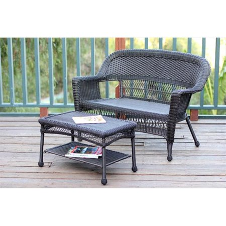 Jeco W00201-LCS Espresso Wicker Patio Love Seat And Coffee Table Set Without Cushion