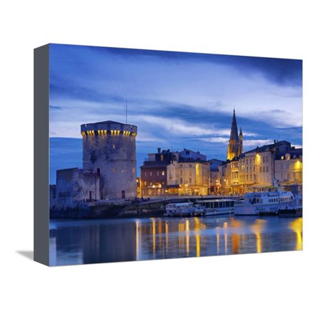 France, Poitou-Charentes, La Rochelle, Town Reflected in Harbour at Dusk Stretched Canvas Print Wall Art By Shaun
