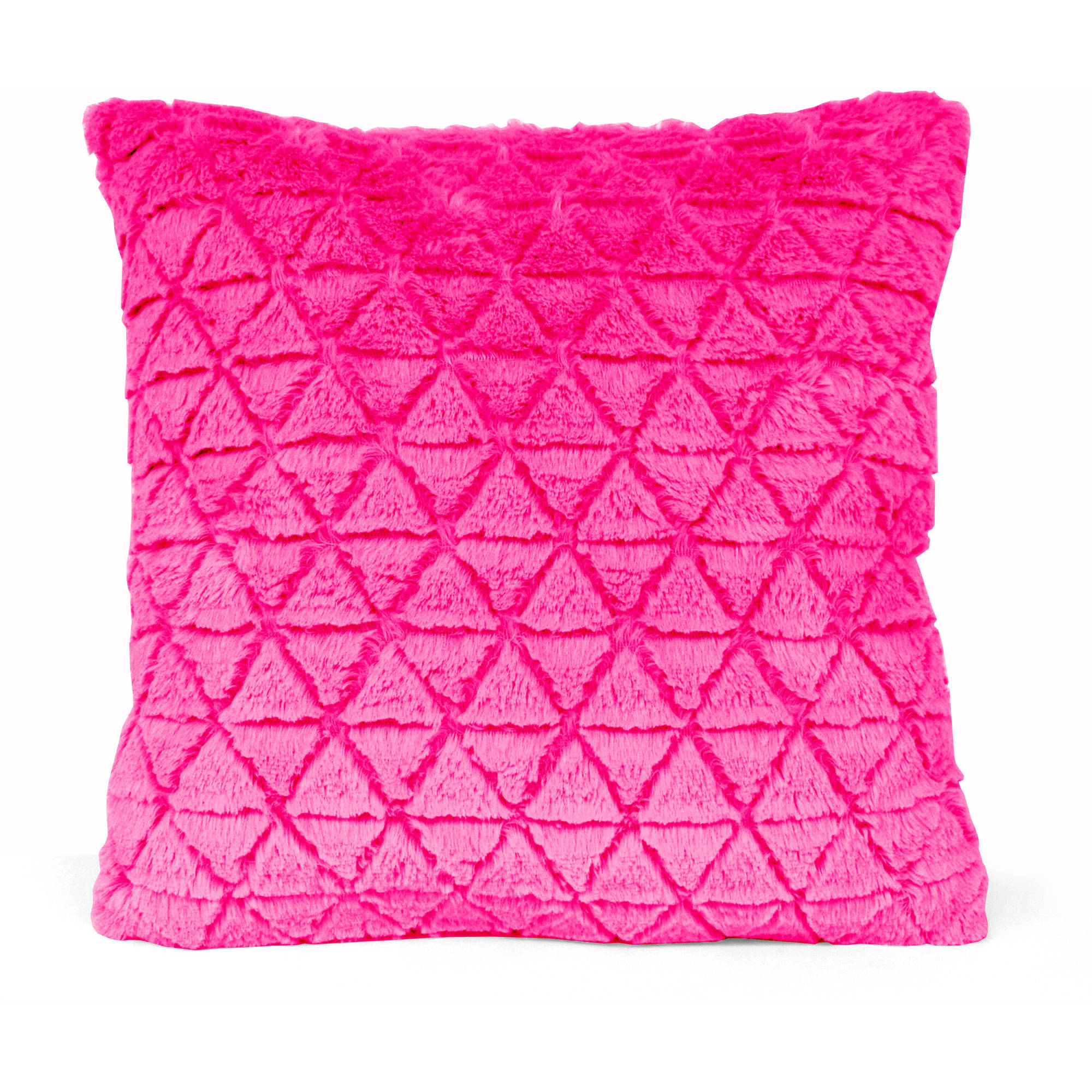 your zone triangle fur pillow, available in various colors