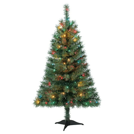 Holiday Time 4ft Pre-Lit Indiana Spruce Green Artificial Christmas Tree  with 105 Multicolored Lights - Holiday Time 4ft Pre-Lit Indiana Spruce Green Artificial Christmas