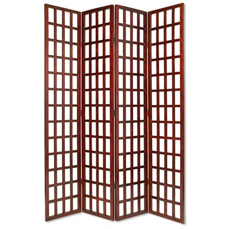 Benzara BM26665 Wooden 4 Panel Foldable Window Pane Screen with Grid Design, Brown