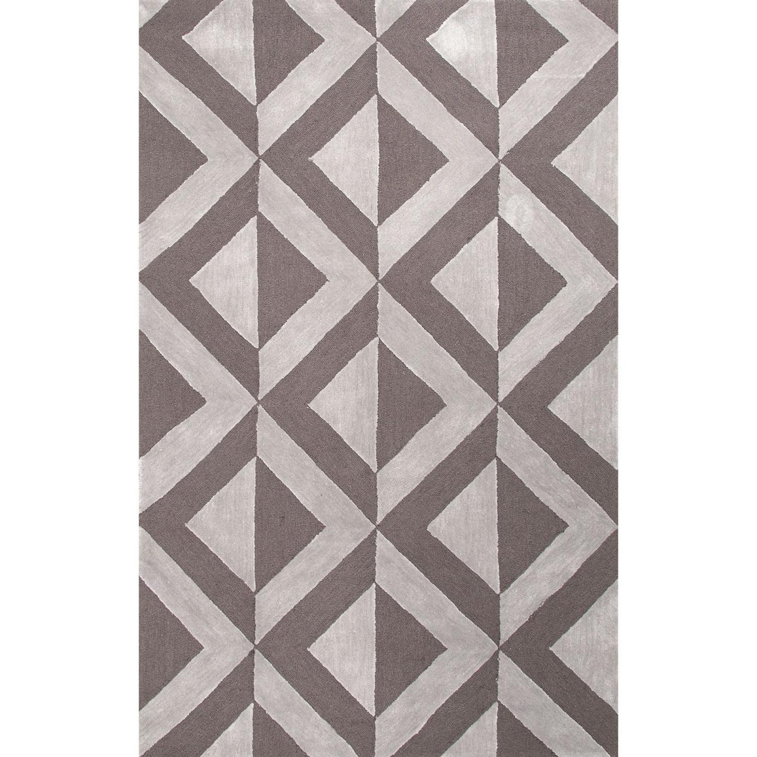 8' X 10' Light Gray and Chocolate Brown Modern Pyramids Hand Tufted Area Throw Rug