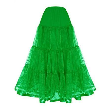 LELINTA Women's Floor Length Wedding Petticoat Long Underskirt for Formal Dress S-3XL Black/ Green/ Pink/ Purple/Red Color](Mid Length Petticoat)