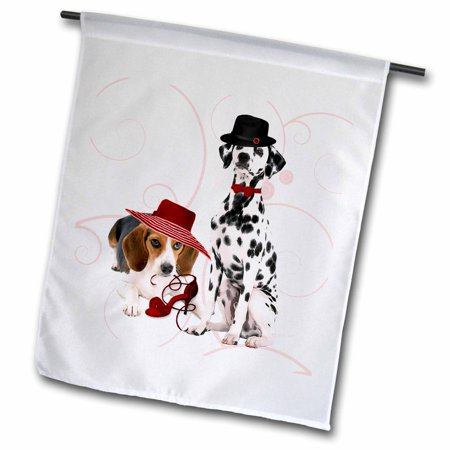 3dRose Beagle in a Hat with a Shoe and a Dalmatian Dog in a Bow tie and Hat, great for Mothers Day - Garden Flag, 12 by -