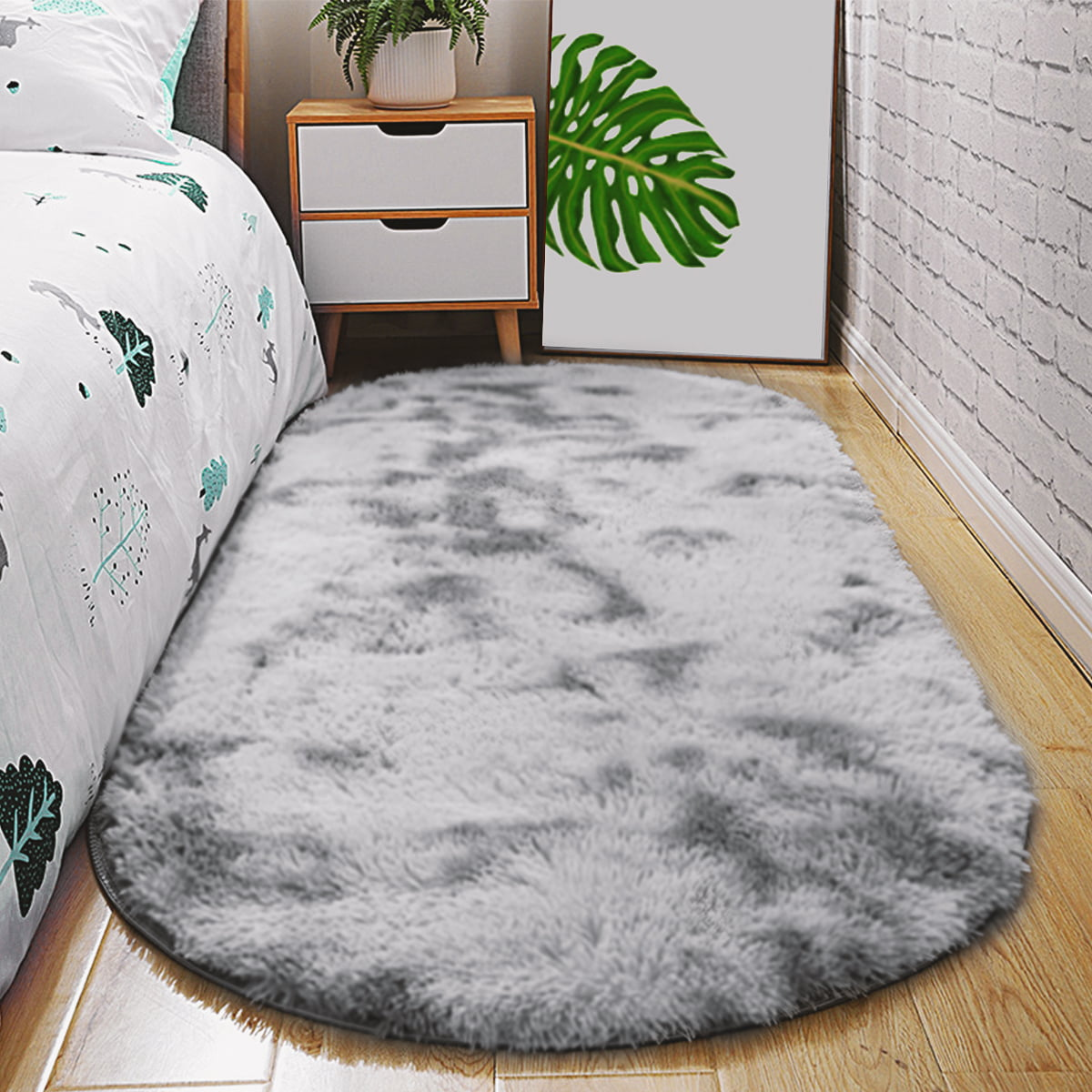 Image of: 31 5 X78 7 63 X90 5 Ultra Soft Fluffy Oval Area Rugs Shaggy Living Room Rug Solid Color Non Slip Bedroom Bedside Rug Runners Walmart Canada