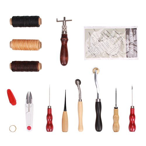 Wisehands 12 Piece Leather Craft Needle Set, Portable Hand Stitching Sewing Punch Tool Set Kit with Sewing Accessories