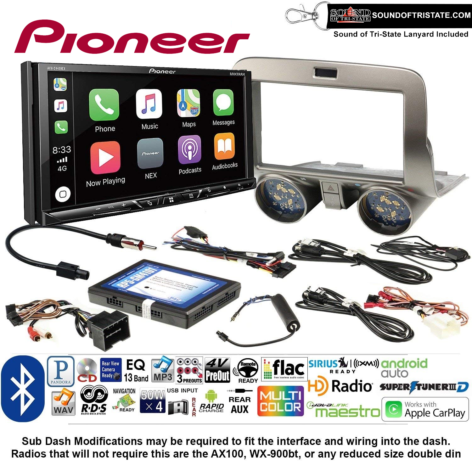 Pioneer AVH-2440NEX Double Din Radio Install Kit with Apple CarPlay, Android Auto and Bluetooth Fits 2010-2015 Chevrolet Camaro + Sound of Tri-State Lanyard