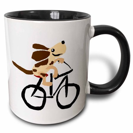3dRose Funny Basset Hound Puppy Dog Riding Bicycle - Two Tone Black Mug, - Two Funny Dogs