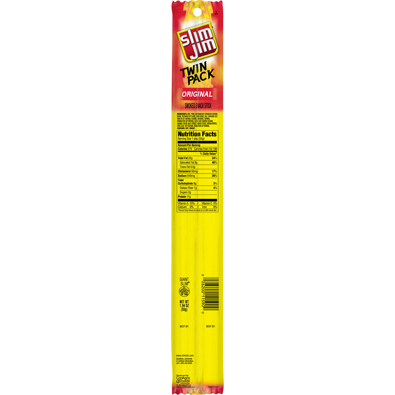 Slim Jim Twin Pack Snack-Sized Smoked Meat Stick, Original Flavor, 1.94 Oz.