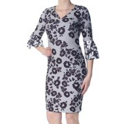 DKNY Womens Black Zippered Geometric Floral Long Sleeve V Neck Knee Length Body Con Cocktail Dress  Size: 8