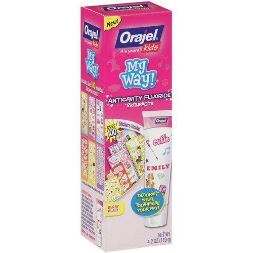 Orajel Kids My Way Anticavity Fluoride Berry Blast Toothpaste, 4.2 oz