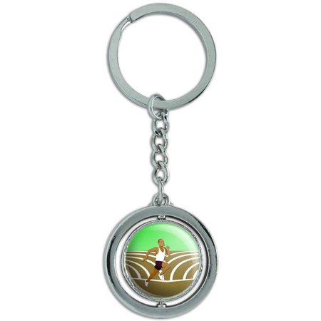 Runner Running Track Long Distance Cross Country Spinning Round Metal Key Chain Keychain (Best Nikes For Long Distance Running)