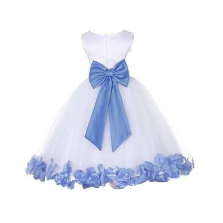 Ekidsbridal Wedding Pageant Rose Petals White Tulle Flower Girl Dress Toddler Junior Bridesmaid Recital Easter Holiday Gown Birthday Girl Dress 302T corn flower size 12-18](Graduation Gowns)