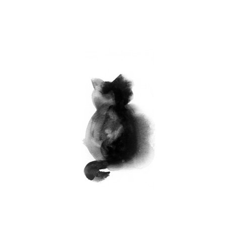 Contempo Cat I Japandi Minimal Minimalist Watercolor Animal Black and White Cat Painting Print Wall Art By Sophia (Cat Watercolor)