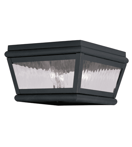 Outdoor Wall Sconces 2 Light With Charcoal Clear Water Glass 8 inches 120 Watts World of Crystal by World of Crystal