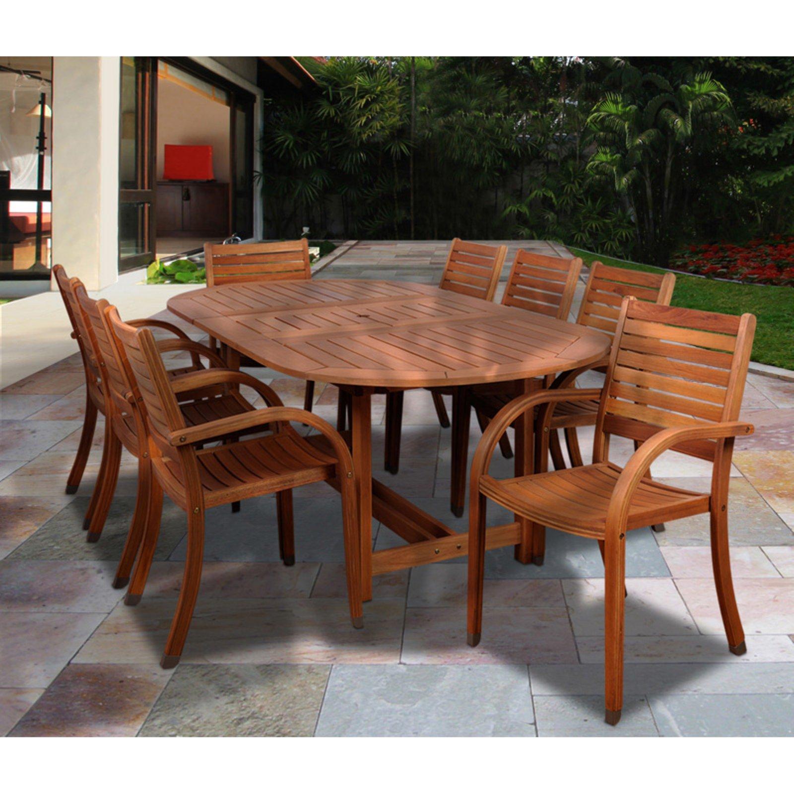 Ia Kentucky 9 Piece Oval Eucalyptus Patio Dining Set