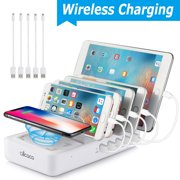 40W Wireless Charging Station - 5 USB Ports and 1 Qi Wireless Charging Pad Fast Charging Dock Organizer for iPhone, ipad, Samsung, Android Phone, Tablet