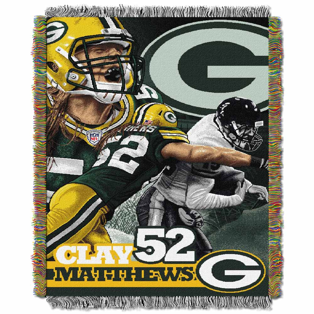 Green Bay Packers Clay Matthews Woven Tapestry Throw Blanket