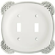 Franklin Brass Arboresque Double Switch Wall Plate in White Antique