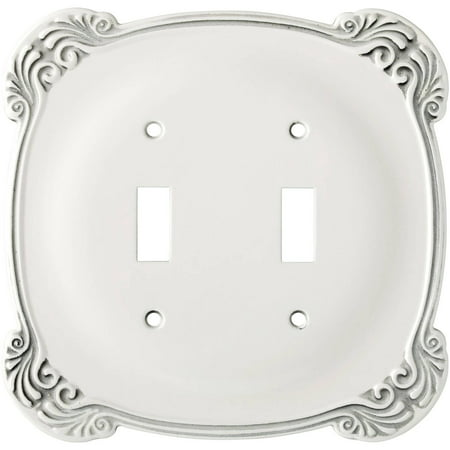 Franklin Brass Arboresque Double Switch Wall Plate in White Antique Double Switch Combo Solid Brass