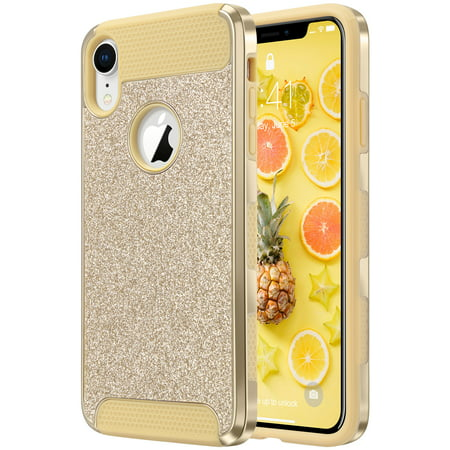 low priced 62762 28c3f ULAK iPhone XR Case, Luxury Glitter 2 in 1 Dual Layer Slim Fit Soft TPU  Hard Laminated with Sparkly Shiny Faux Leather Chrome Shockproof Protective  ...