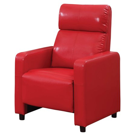 Arcadia Push Back Recliner Chair in Red Faux