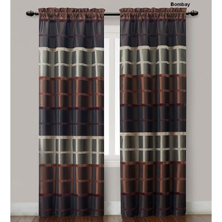 Two (2) Chocolate, Burgundy and Taupe Window Curtain Panels: Faux Silk, Wide Stripe Design, 80