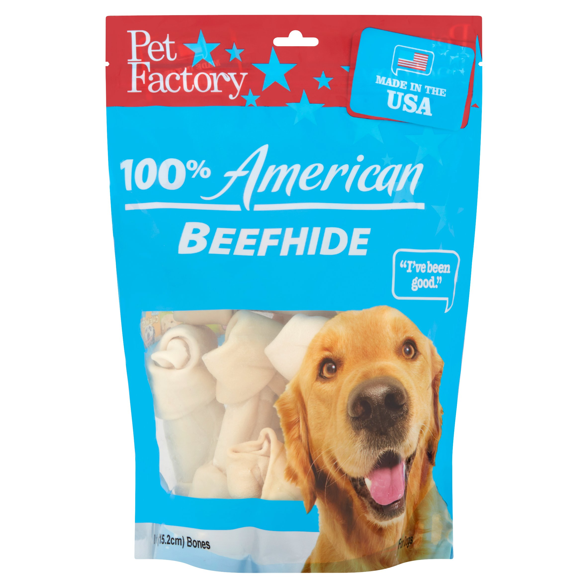 "Pet Factory American Value Chews Beefhide Bones Dog Chews, 6""-7"", 8 Ct"