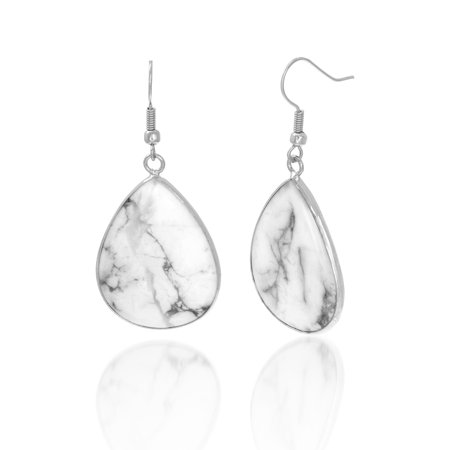 French Wire Scroll Design Earrings - Marble Design Teardrop French Wire Earring