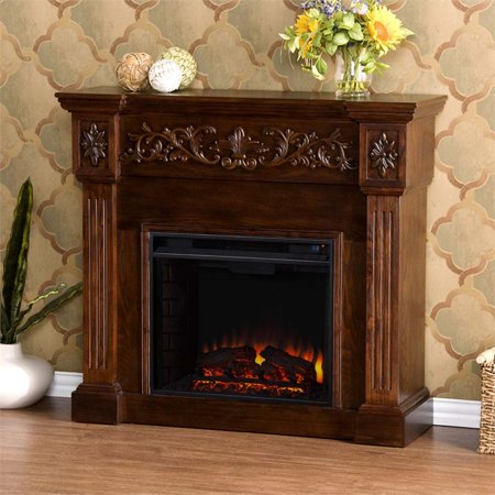 Southern Enterprises Calvert Carved Electric Fireplace in Espresso (36in Wood Burning Fireplace)